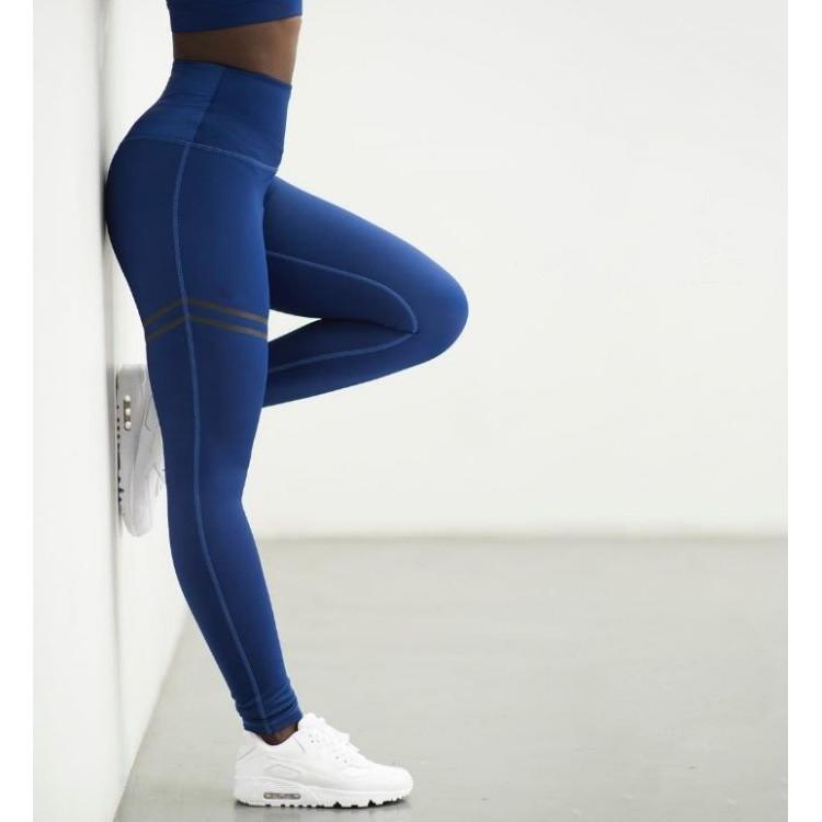 Sportowe Legginsy Fitness Trening Niebieskie L LEG17L