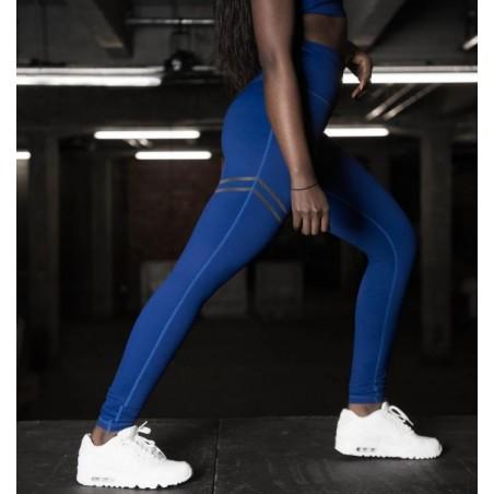 Sportowe Legginsy Fitness Trening Niebieskie M LEG17M
