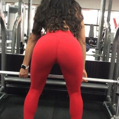 Legginsy Fitness Trening Sciągane Czerwień L LEG42CZEL