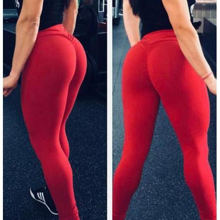 Legginsy Fitness Trening Sciągane Czerwień S LEG42CZES