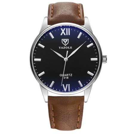 Zegarek męski yazole czarna tarcza brązowy pasek ZM92WZ1