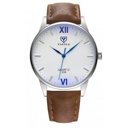Zegarek męski yazole srebrny, biała tarcza brązowy pasek ZM92WZ4