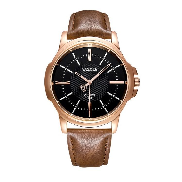 Zegarek męski yazole czarna tarcza brązowy pasek ZM93CZBR