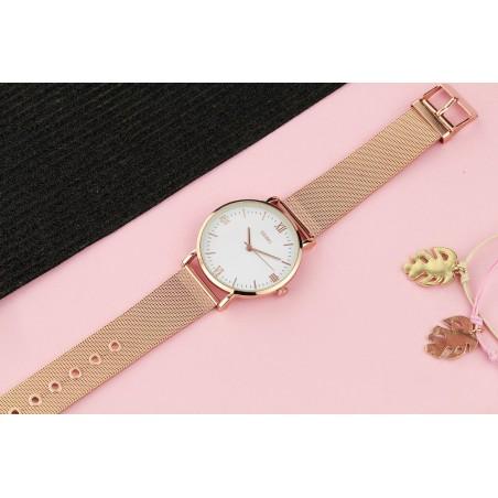Zegarem damski classy różowe złoto na bransolecie Z688