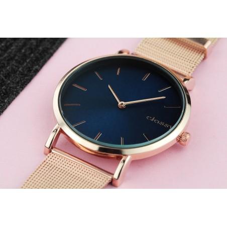 Zegarek damski classy rose gold niebieska tarcza na bransolecie Z684