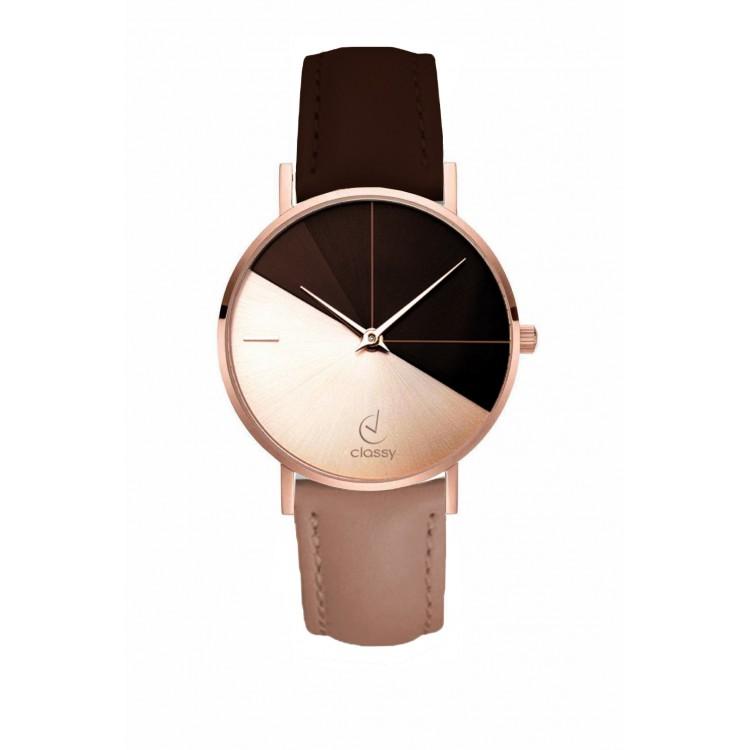 Zegarek damski classy różowe złoto na brązowo różowym pasku Z690