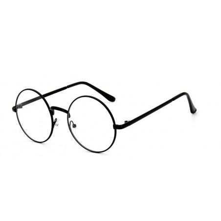 Okulary zerówki okrągłe czarne OK152