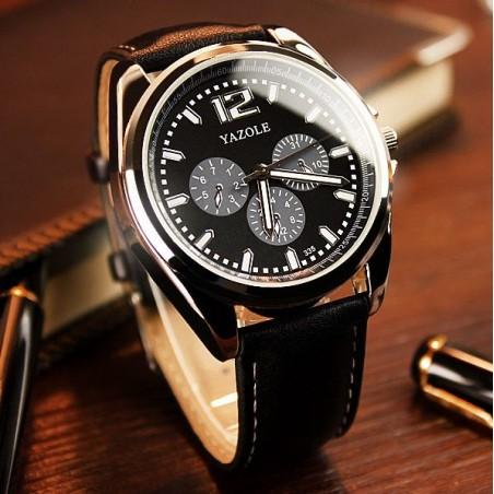 Zegarek męski yazole czarna tarcza brązowy pasek ZM62CZBR