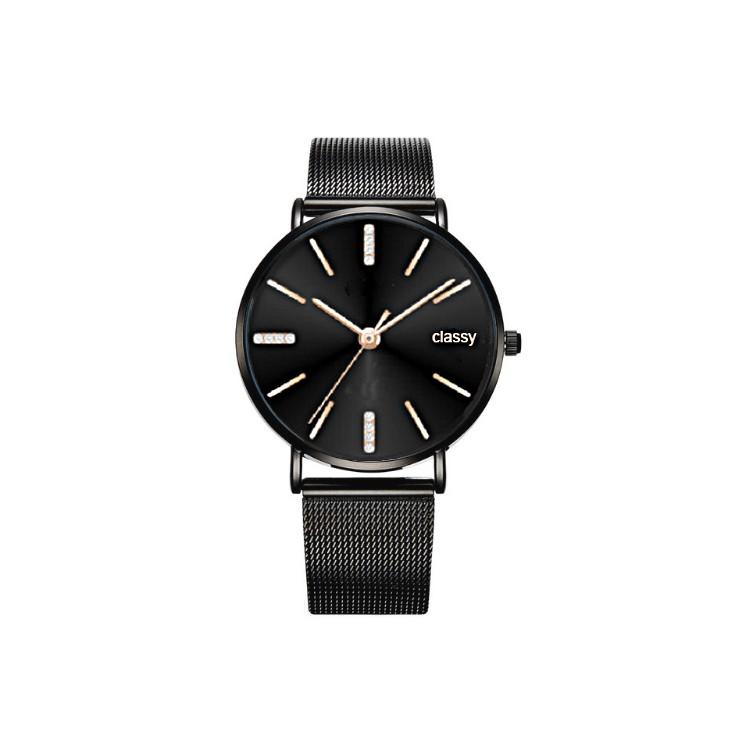 Zegarek damski classy czarny z kryształkami na czarnej bransolecie Z689