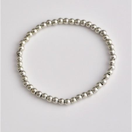 Zestaw 4w1 bransoletki srebrne koraliki serduszko puls B323