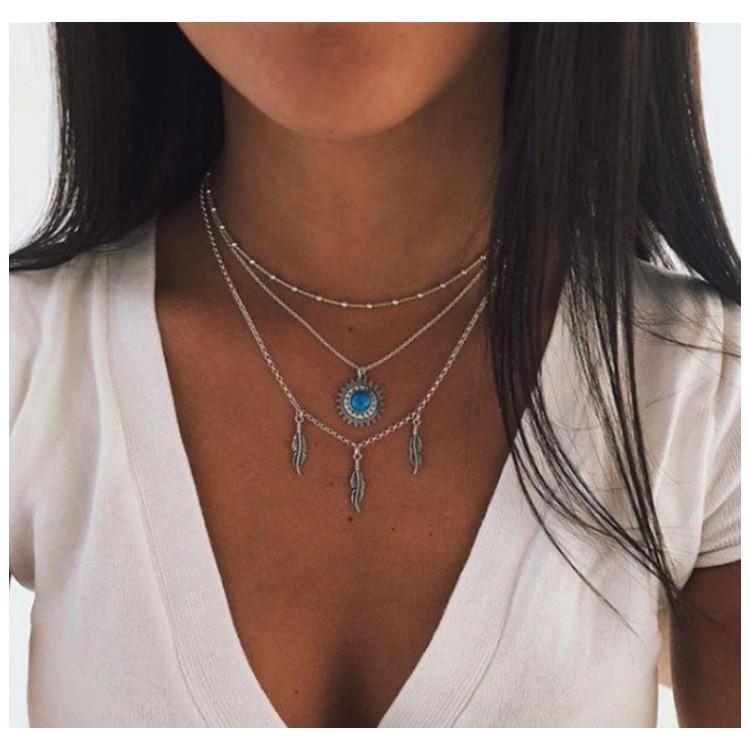 Naszyjnik multi niebieskie kryształki, pióra, boho srebrny N652