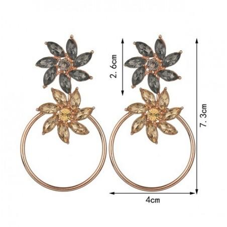 Kolczyki wiszące koła z kwiatami złote K1040