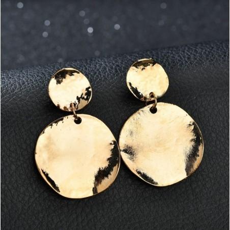 Kolczyki wiszące koła złote K1058