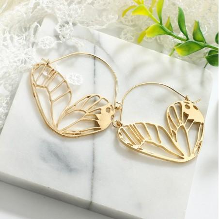 Kolczyki wiszące skrzydła motyla złote K1071