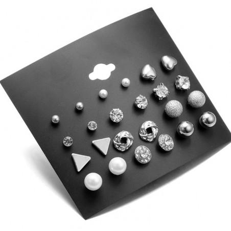 Zestaw 12 par kolczyków srebrne K1072