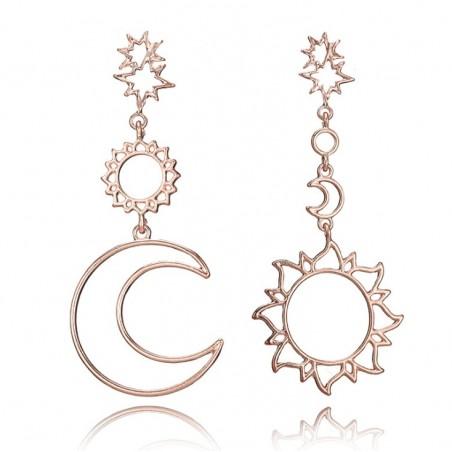 Kolczyki wiszące księżyc i słońce rose gold K1073