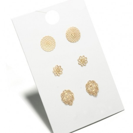 Zestaw 3 par kolczyków złote K1074