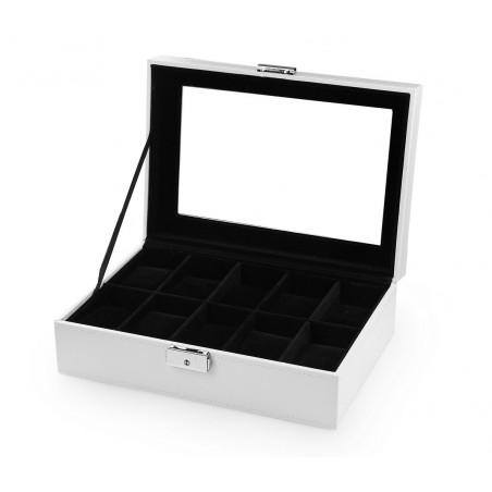 Szkatułka pudełko na 10 zegarków biała PD97