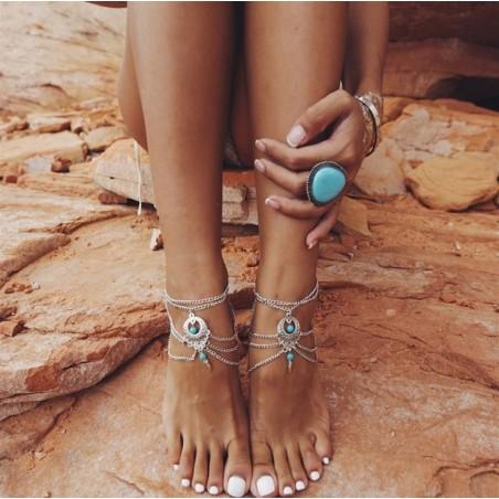 Bransoletka na stopę multi srebrna ornament koraliki B277S