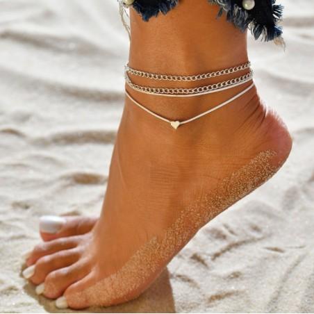 Bransoletka na stopę 2w1 srebrne serduszko B279