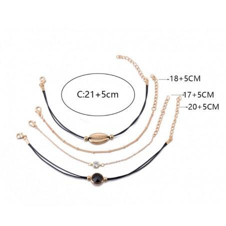 Zestaw 4w1 bransoletki złote muszelka oczko B320