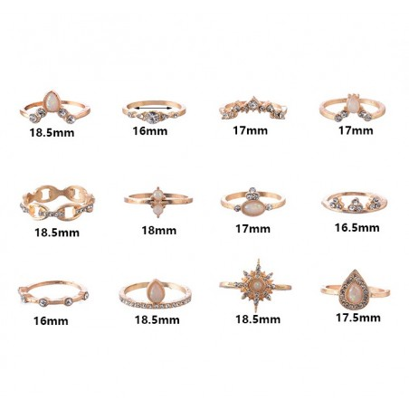 Rings set 12 crystal PE51