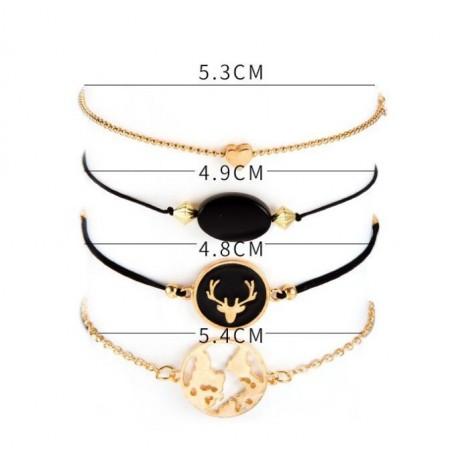 Zestaw bransoletek 4w1 złote muszelka oczko B320