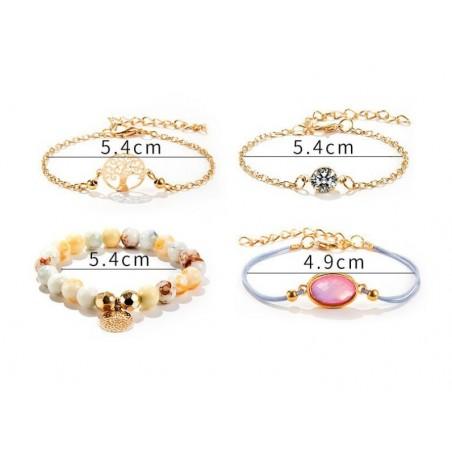 Zestaw bransoletek 4w1 złote koraliki kryształek B303