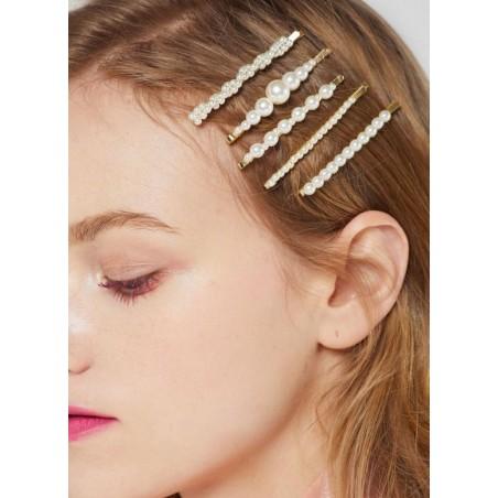 Spinka do włosów z perełkami wsuwka perły złota SP37Z