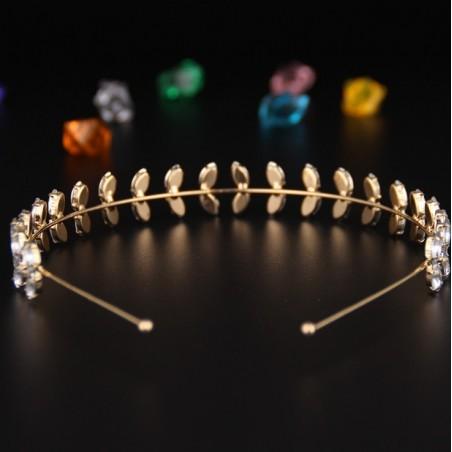 Opaska do włosów złota z kryształki O166