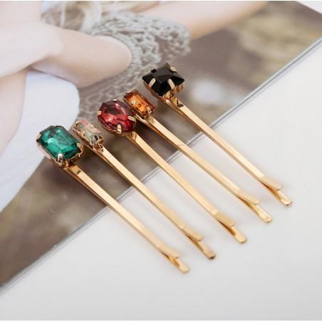 Zestaw 5 spinek do włosów złote z kryształkami SP31