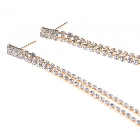 Kolczyki wiszące kryształki złote K1059Z