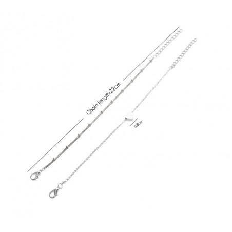 Zestaw 2 bransoletek serduszko srebrne B292S