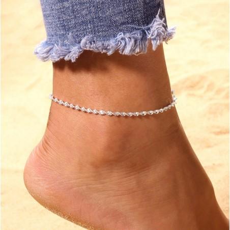Bransoletka na stopę  srebrna B295
