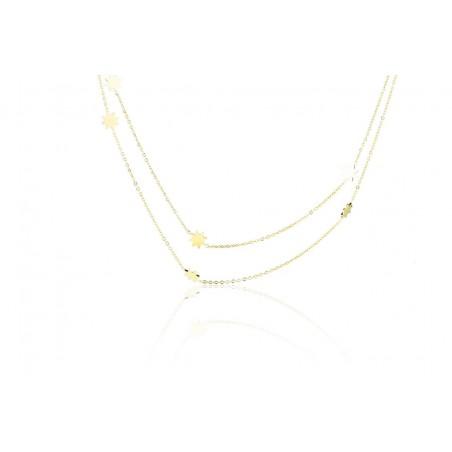 Chirurgenstahl Halskette Doppelsterne Gold NST881