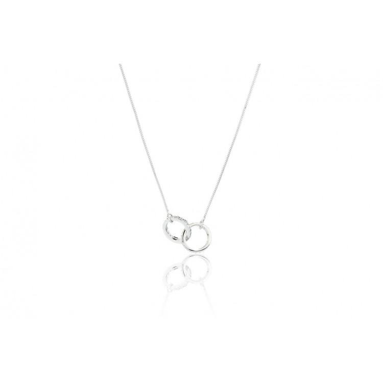 Naszyjnik stal chirurgiczna kryształowe obrączki srebrny NST883