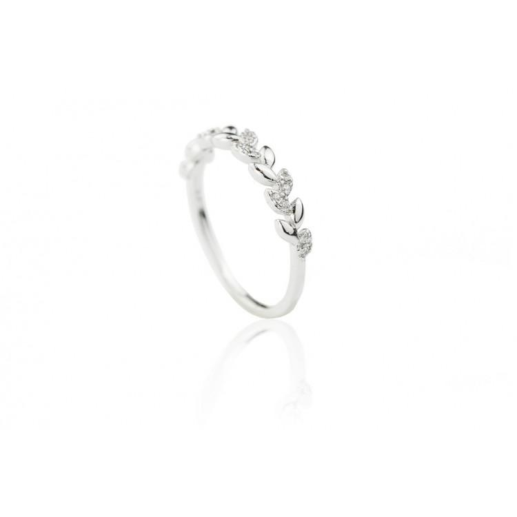 Pierścionek stal chirurgiczna platerowana złotem listki kryształki srebrny PST523
