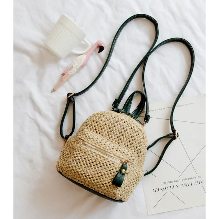 Mini Plecak wiklinowy z zielonymi dodatkami PL129ZIE