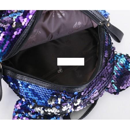 Plecak damski w cekiny z uszkami różowy PL130R