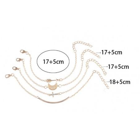 Zestaw bransoletek 4w1 złote krzyżyk B326