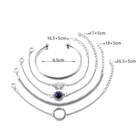 Zestaw bransoletek 5w1 srebro B340