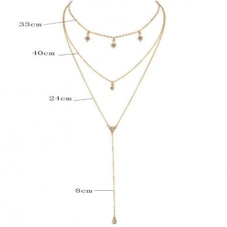 Naszyjnik multi długi delikatny gwiazdki kryształki N620