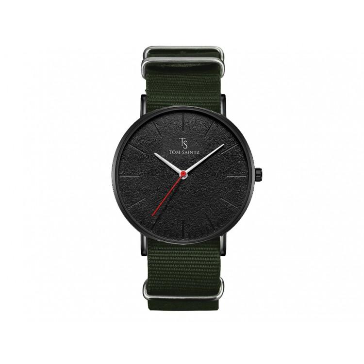 Zegarek męski Tom Saintz czarna tarcza na zielonym pasku ZM194ZIE