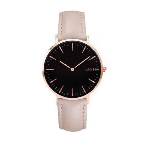 Zegarek damski classy czarna tarcza na pasku Z691PIA