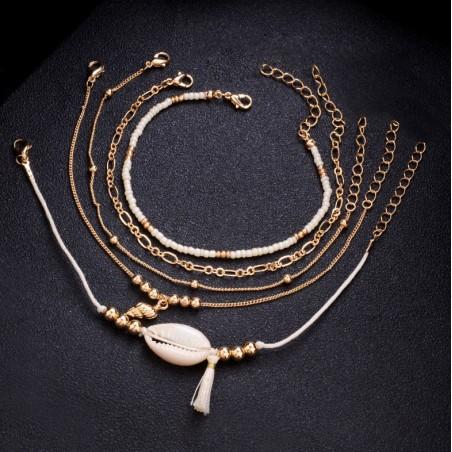 Zestaw 5w1 bransoletki złota, muszelki i koraliki B321
