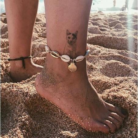 Bransoletka na stopę złote muszelki B283