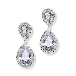 Kolczyki ślubne wiszące z kryształkami KSL18