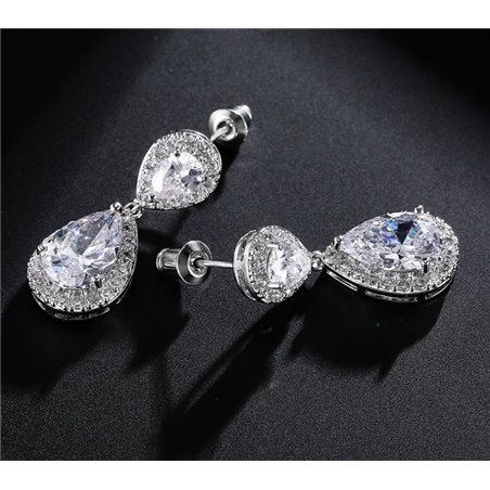 Wedding earrings hanging with crystals, stainless steel KSL20