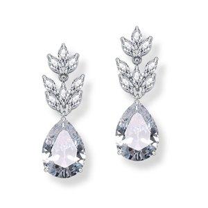 Kolczyki ślubne wiszące z kryształkami srebrne KSL11S