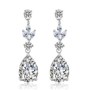 Kolczyki ślubne wiszące z kryształkami srebrne KSL16S